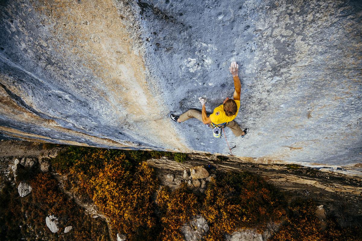 Alex Megos on the first ascent of Bibliographie (9c/5.15d), Céüse, France.