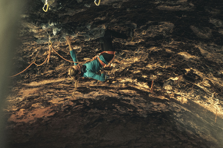 Climber Alizée Dufraisse, Ali Baba Cave, Rodellar, Spain.