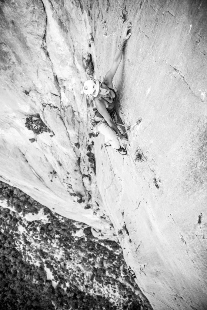 Lise Billon rock climbing in the Verdon Gorge, France.