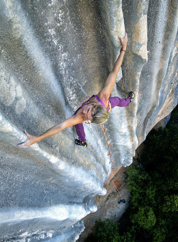 Rock climbing at Margalef, Tarragona, Spain.