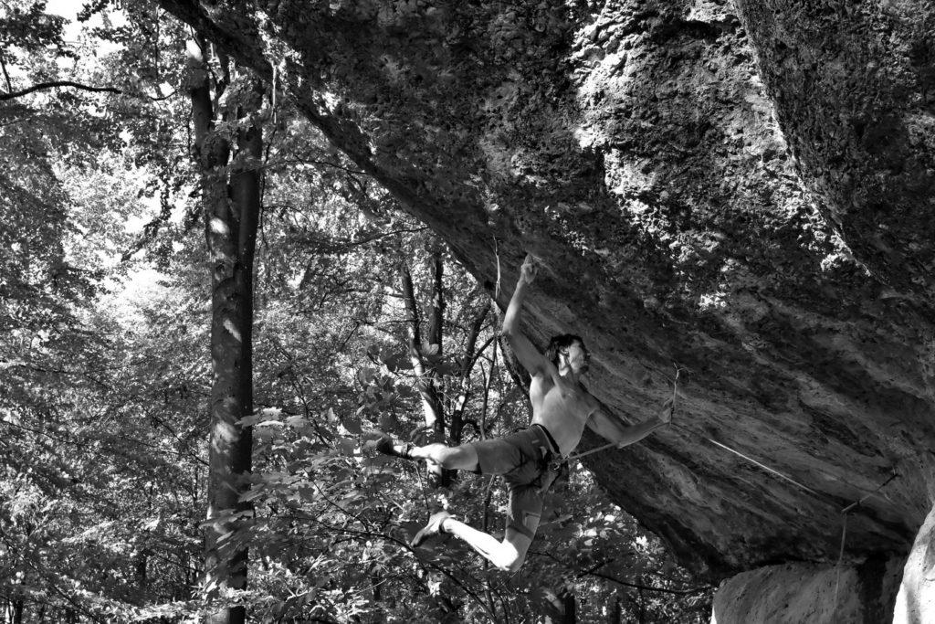 Klemen Bečan climbing Action Directe, Frankenjura, Germany