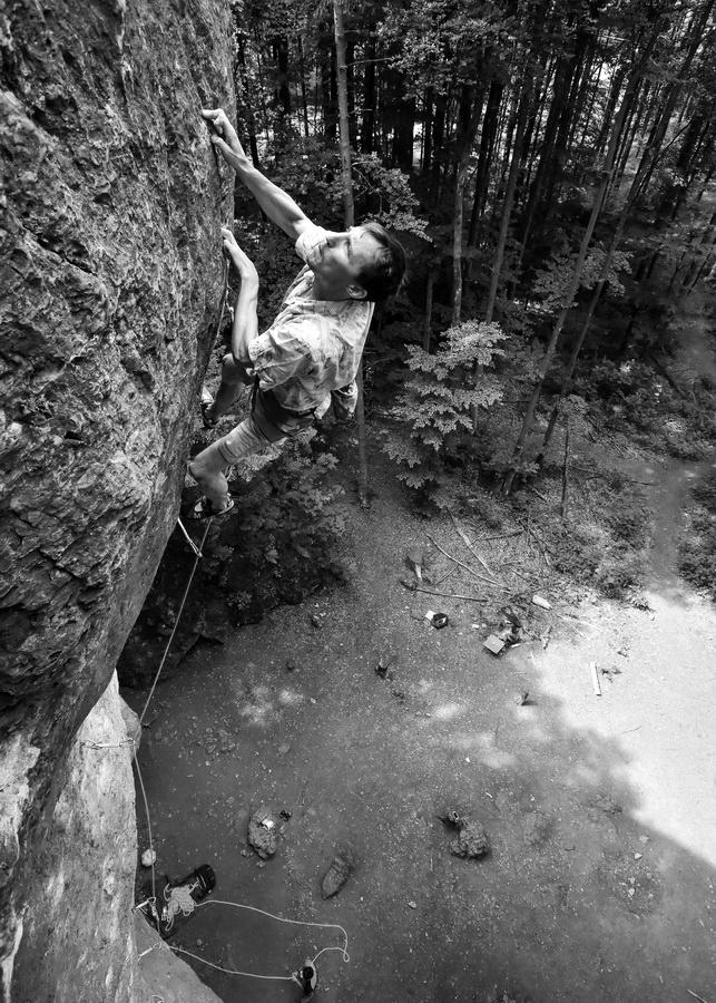Klemen Bečan climbing Wallstreet, Frankenjura, Germany