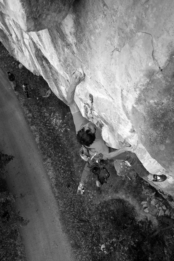 Klemen Bečan rock climbing in Croatia