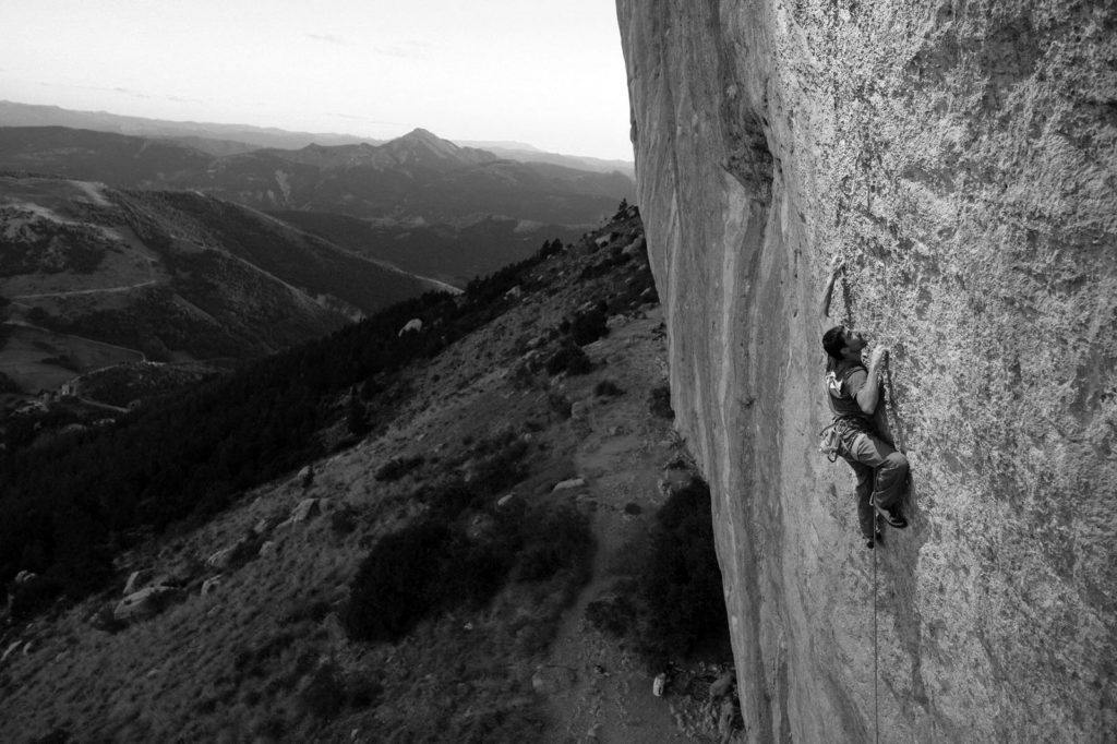 Uri Maraver rock climbing at Céüse, France.