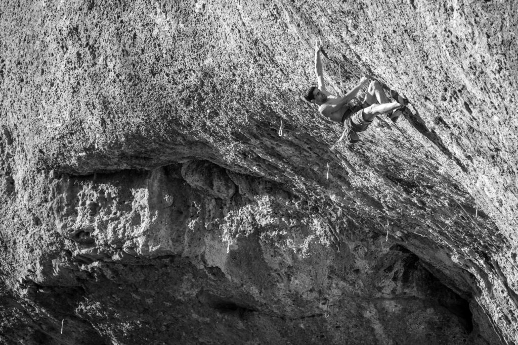 Uri Maraver rock climbing at Margalef, Spain