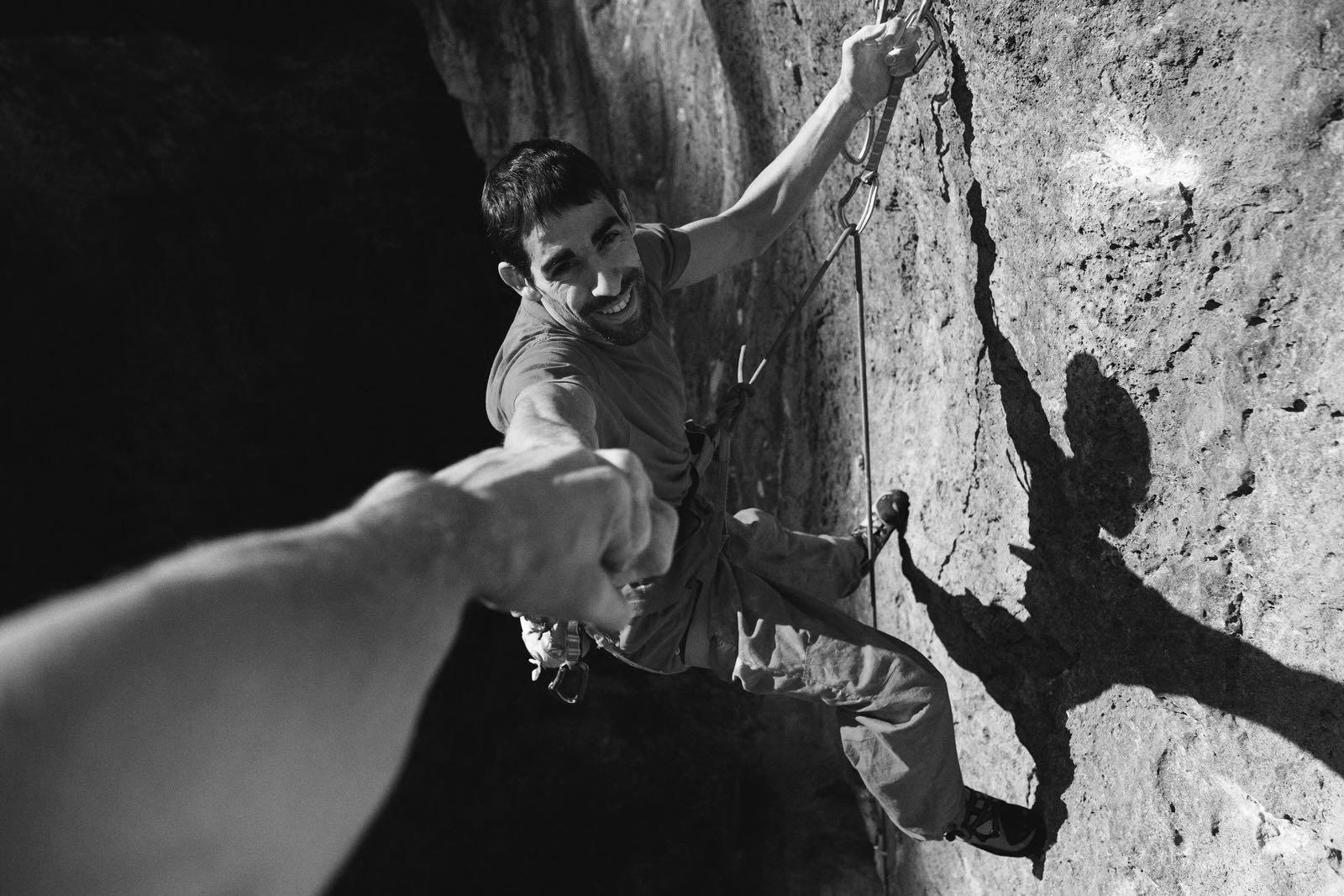 Uri Maraver rock climbing